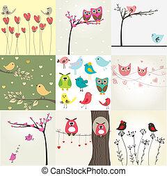 かわいい, セット, バレンタイン, カップル, 9, カード, 鳥