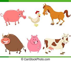 かわいい, セット, 動物, 農場, 特徴, 漫画