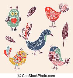 かわいい, セット, 色, いたずら書き, 鳥, 型, 漫画