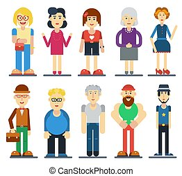 かわいい, セット, 面白い, 人々。, characters., ベクトル, 漫画