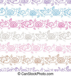 かわいい, パターン, seamless, ストライプ, 背景, 微笑, かたつむり