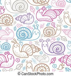 かわいい, パターン, seamless, 背景, 微笑, かたつむり