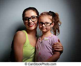 かわいい, ファッション, 見る, 黒, 母, 女の子, 幸せ, ガラス
