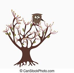 かわいい, フクロウ, 木