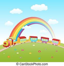 かわいい, ベクトル, 列車, rainbow., 丘, illustraton, 漫画