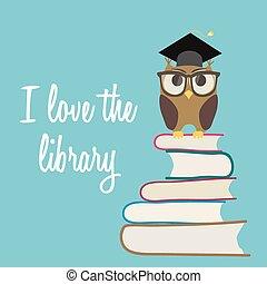 かわいい, メガネ, 愛, フクロウ, books., 帽子, 卒業, バックグラウンド。, ベクトル, 山, 図書館, モデル