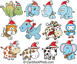 かわいい, 休日, セット, クリスマス, 冬
