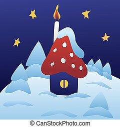 かわいい, 冬, 葉書, 家, 子供, デザイン, クリスマス