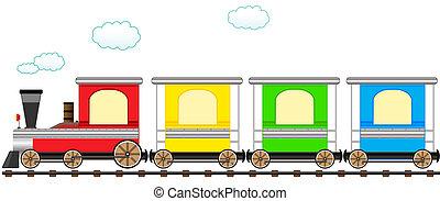 かわいい, 列車, 柵, 漫画, カラフルである