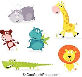 かわいい, 動物, 6, -, サファリ, キリン