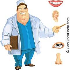 かわいい, 医者, 提示, 脂肪, 顔, 部分