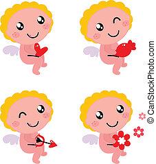 かわいい, 天使, バレンタイン, 隔離された, キューピッド, 白, ∥あるいは∥