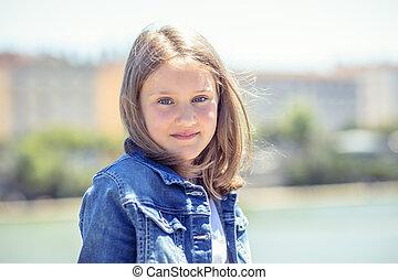 かわいい 女, 屋外, 若い, 肖像画