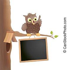かわいい, 学校, 小枝, フクロウ, blackboard., 背中, イラスト, バックグラウンド。, 主題, ベクトル, 教育, 漫画