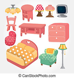 かわいい, 家具, セット, 漫画, アイコン