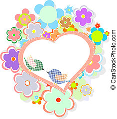 かわいい, 心, birthday, 花, 鳥, カード