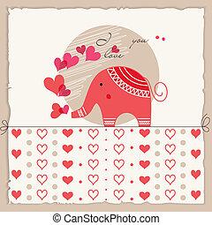 かわいい, 愛, バレンタイン, カード, 象, 日