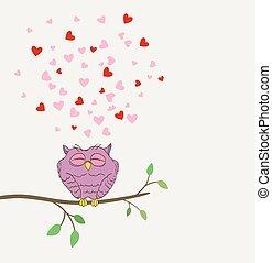 かわいい, 愛, フクロウ, ベクトル, twig., 夢を見ること, 心