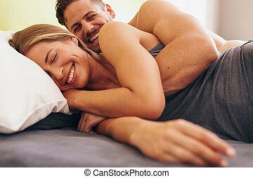 かわいい, 愛, 恋人, 若い, ベッド, あること