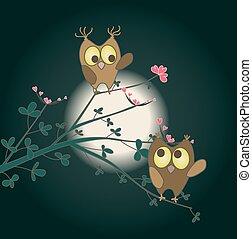 かわいい, 愛, 2, フクロウ, flowers., ベクトル, 心, 小枝