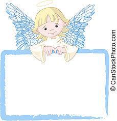 かわいい, 招待, 天使, &, 場所カード