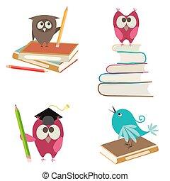 かわいい, 本, 鳥, 鉛筆