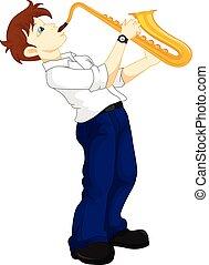 かわいい, 男の子, saxophonist