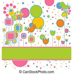 かわいい, 花, グリーティングカード, 鳥