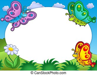 かわいい, 蝶, フレーム, ラウンド
