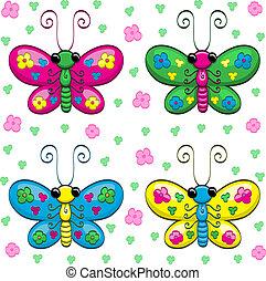 かわいい, 蝶, 漫画