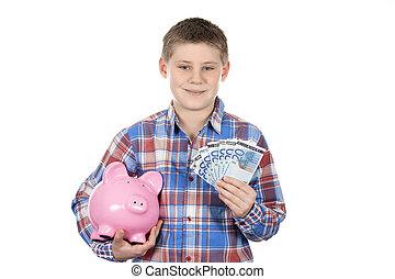 かわいい, 銀行, 小豚, 紙幣, 男の子