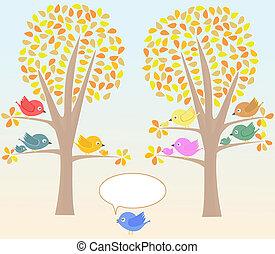 かわいい, 鳥, グリーティングカード, 下に