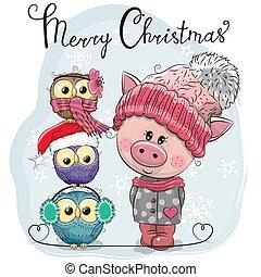 かわいい, 3, 挨拶, フクロウ, 豚, クリスマスカード