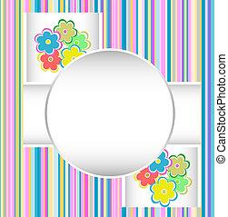 かわいい, birthday, flowers., ベクトル, カード, 幸せ