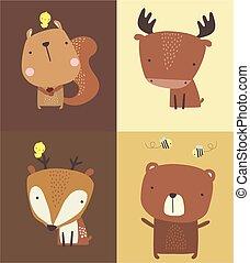かわいい, set.eps, 森林, 動物
