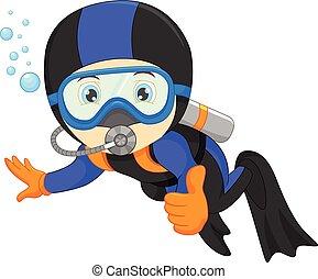 かわいい, snorkeling, 男の子