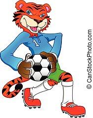 かわいい, tiger, フットボールをする