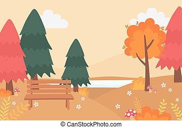 きのこ, 花, 湖, ベンチ, 公園, 木, 秋, 自然場面, 風景