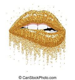 きらめく, 金, きらめき, 唇