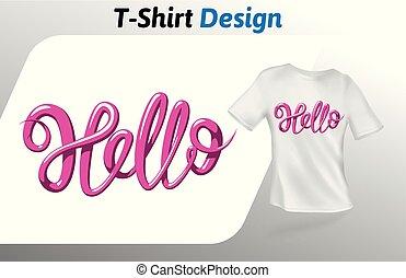 こんにちは, 単語, 色, 隔離された, の上, tシャツ, バックグラウンド。, print., ベクトル, デザイン, 白, ラズベリー, template., mock, テンプレート
