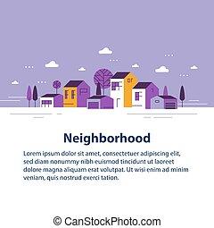 ごく小さい, 町, 家, 美しい, 住宅の近所, 村, 小さい, 光景, 横列