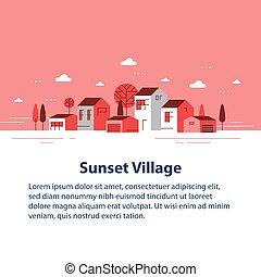ごく小さい, 町, 家, 美しい, 住宅の, 秋, 村, 近所, 季節, 小さい, 光景, 横列