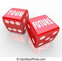 さいころ, -, 未来, ギャンブル, あなたの, 赤