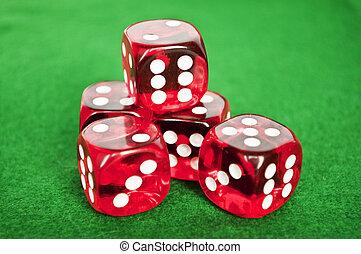 さいの目に切る, 背景, セット, 緑, ギャンブル