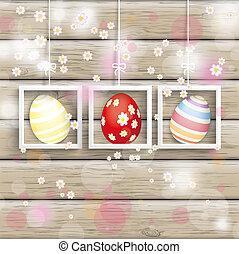 さくらんぼ, 卵, 3, 木, フレーム, 花, イースター