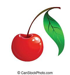 さくらんぼ, 葉, 緑, 熟した, 赤