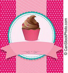 しまのある, レトロ, 背景, cupcake