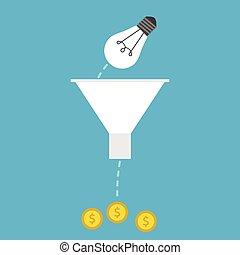 じょうご, lightbulb, お金