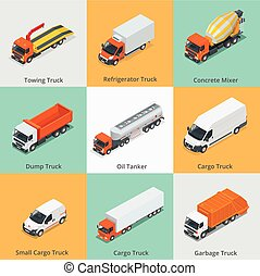 すき, 自動車, トラック, truck., ミキサー, トラック, ごみ, セット, タンカー, 小さい, コンクリート, 雪, isometric., 貨物, 3d, アイコン, icon., icons., ゴミ捨て場, オイル