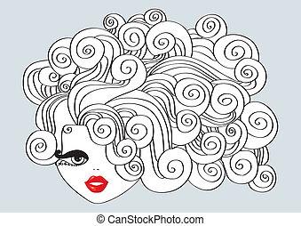 すてきである, 女の子, 毛, イラスト, 巻き毛, ベクトル, 赤, mouth.